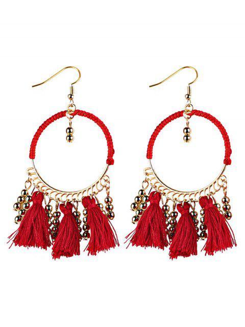 ladies Geometrical Bohemian Tassel Circle Drop Earrings - RED  Mobile