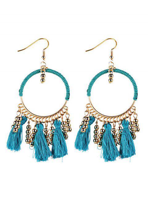 Boucles d'oreilles de style bohémien à pendants géométriques de cercles de glands - Bleu  Mobile