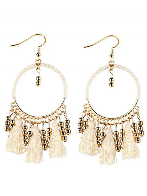 best Geometrical Bohemian Tassel Circle Drop Earrings - WHITE  Mobile