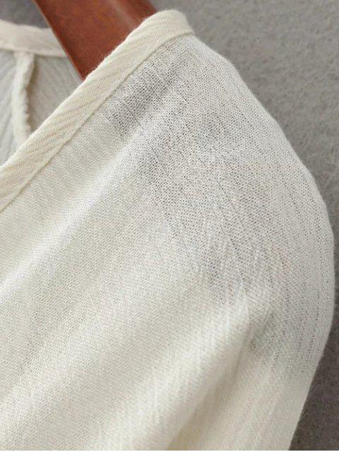 fashion Linen Embroidered Surplice Blouse - BLACK M Mobile
