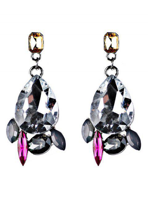 hot Artificial Gems Embellished Water Drop Dangle Earrings -   Mobile