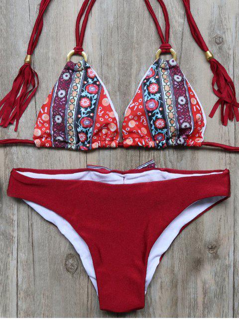 women Print Panel Tassels Bowknot Bikini Set - WINE RED S Mobile