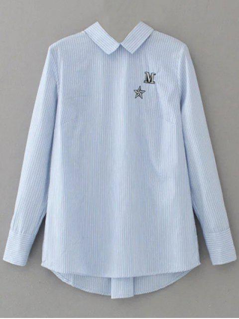 unique Lace Up Striped Embroidered Blouse - LIGHT BLUE M Mobile
