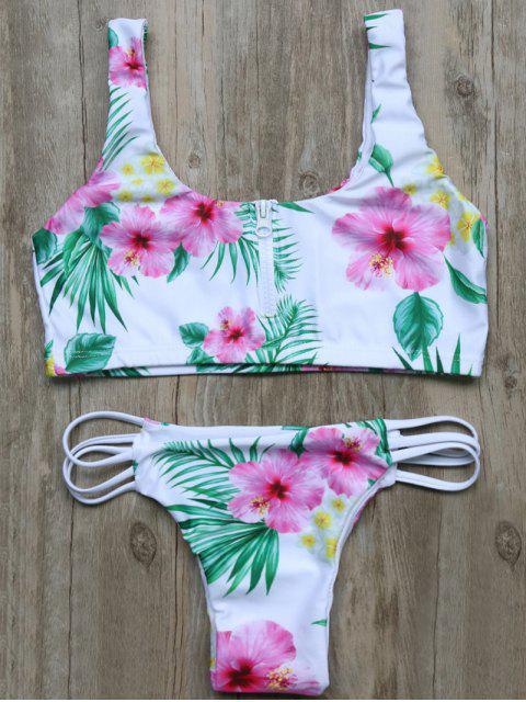 online Cutout Half Zip Floral Bikini Set - WHITE M Mobile