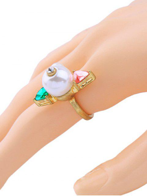 shop Artificial Gem Pearl Triangle Cuff Ring -   Mobile