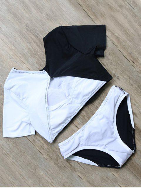 unique Color Block Short Sleeve Top and Briefs - BLACK L Mobile