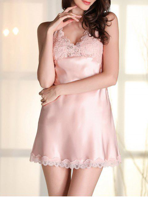 outfits Satin Lace Panel Backless Babydoll - PINK M Mobile