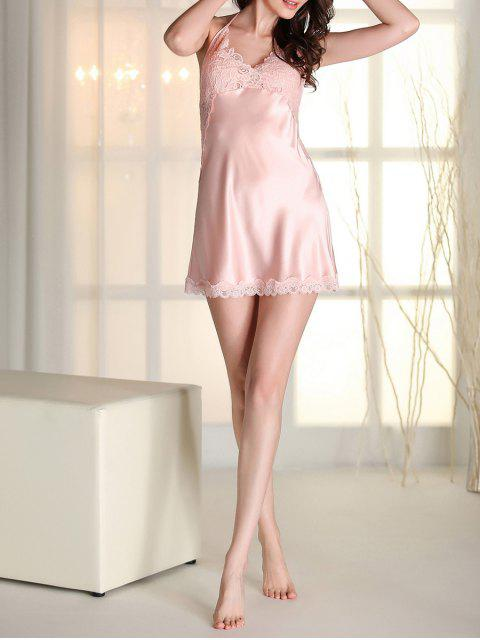 outfit Satin Lace Panel Backless Babydoll - PINK L Mobile