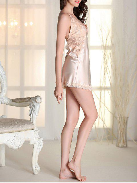 latest Satin Lace Panel Backless Babydoll - APRICOT M Mobile