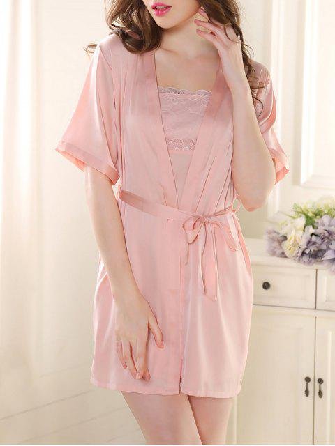 chic Satin Babydoll with Kimono Cardigan - PINK M Mobile
