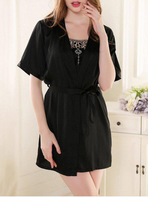 womens Satin Babydoll with Kimono Cardigan - BLACK M Mobile