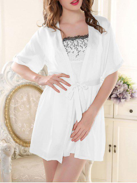 sale Satin Babydoll with Kimono Cardigan - WHITE M Mobile