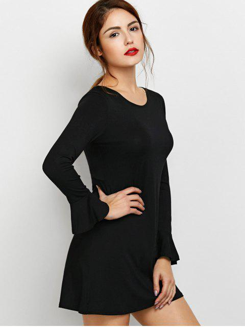 sale Flare Sleeve Cut Out Dress - BLACK M Mobile