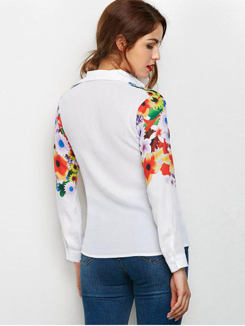 women Fitting Floral Print Shirt - WHITE S Mobile