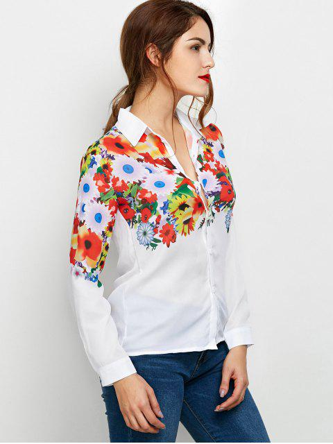 lady Fitting Floral Print Shirt - WHITE M Mobile