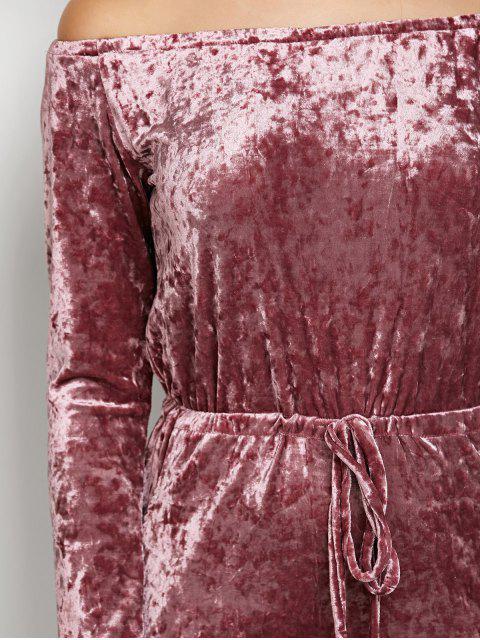 shops Ripped Off Shoulder Velvet Jumpsuit -   Mobile