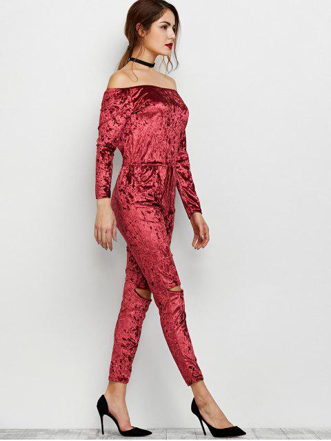 fancy Ripped Off Shoulder Velvet Jumpsuit -   Mobile