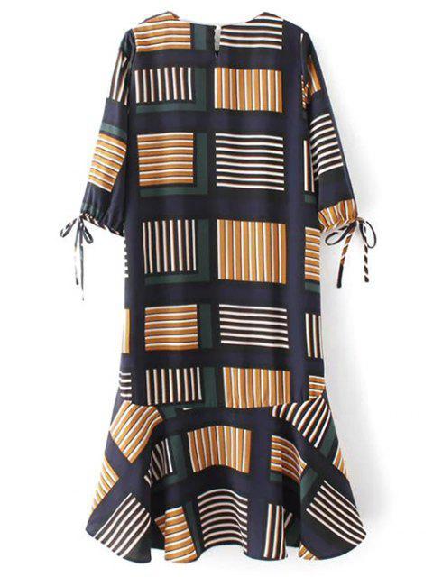 ladies Checked Ruffle Hem Midi Dress - MULTICOLOR S Mobile