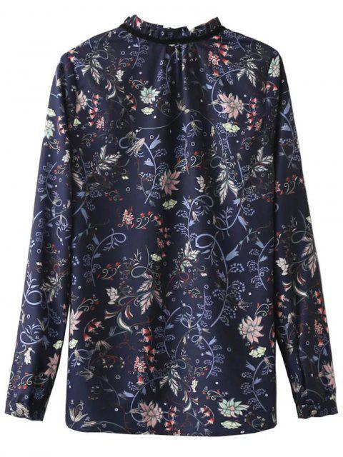 unique Frilled Tie Neck Floral Print Blouse - PURPLISH BLUE L Mobile