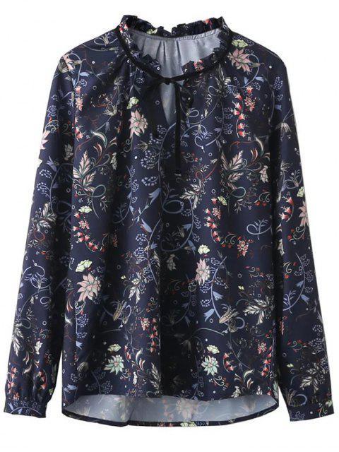 sale Frilled Tie Neck Floral Print Blouse - PURPLISH BLUE M Mobile