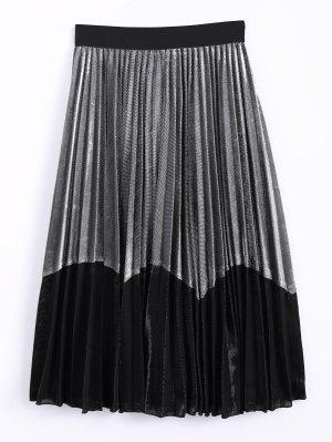 Del Bloque Del Color Del Terciopelo Falda Plisada - Plateado+negro