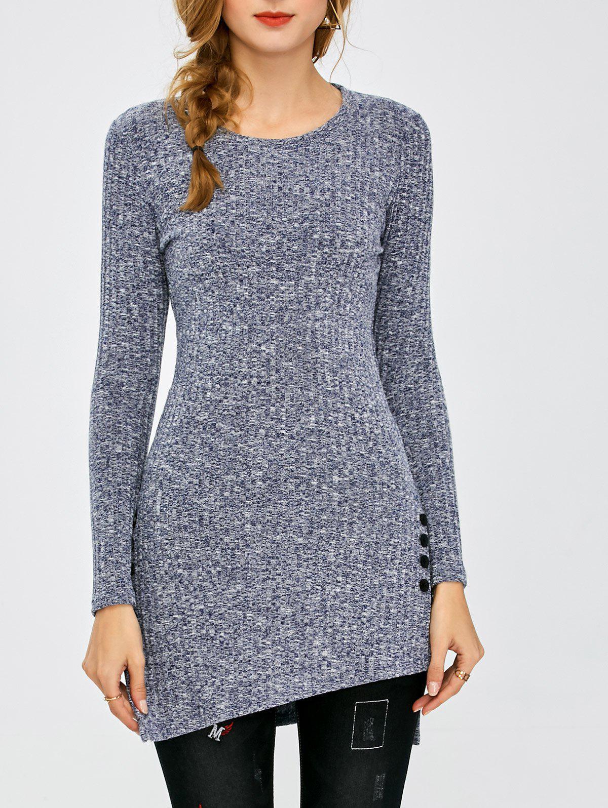 Ribbed Asymmetrical Side Slit Buttoned Knitwear 206015908