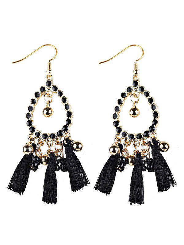 Geometrical Bohemian Tassel Drop Earrings - BLACK