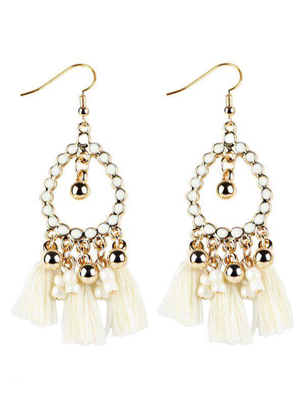 Geometrical Bohemian Tassel Drop Earrings - WHITE