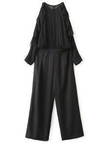 Cold Shoulder Jabot Palazzo Jumpsuit - Noir M
