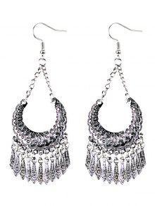 Buy Geometrical Tassel Drop Earrings - SILVER