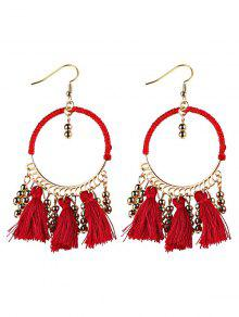 Geometrical Bohemian Tassel Circle Drop Earrings - Red