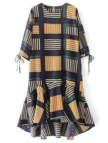 Checked Ruffle Hem Midi Dress - Multicolor M