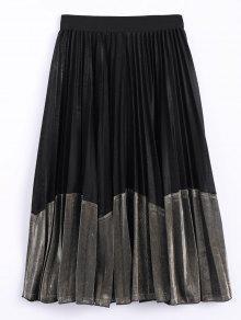 Buy Color Block Velvet Pleated Skirt - BLACK AND GOLDEN ONE SIZE
