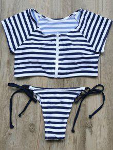 Full Zip Cropped Striped Tankini Set - Deep Blue M