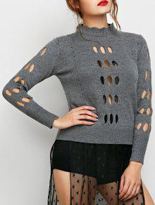 Cut Out Mock Neck Sweater - Gray S