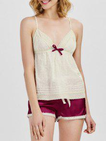 Criss Cross Cami Top With Satin Shorts Loungerwear - Wine Red