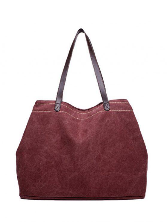La bolsa de hombro de la lona de costura - Rojo purpúreo