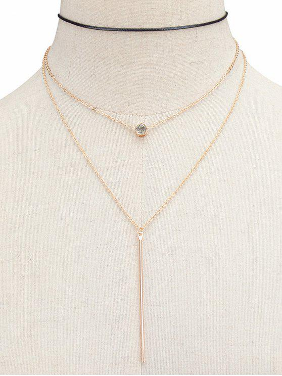 Layered Rhinestone Bar Necklace - Golden