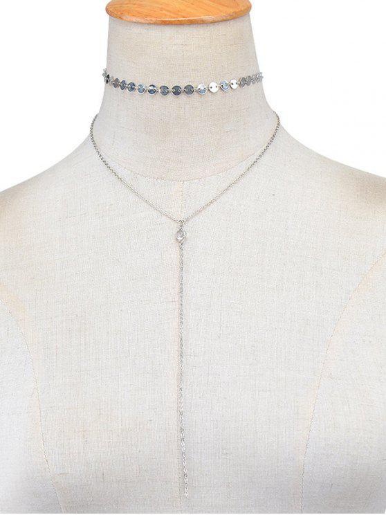 Collar de la vendimia en capas lentejuelas - Plata