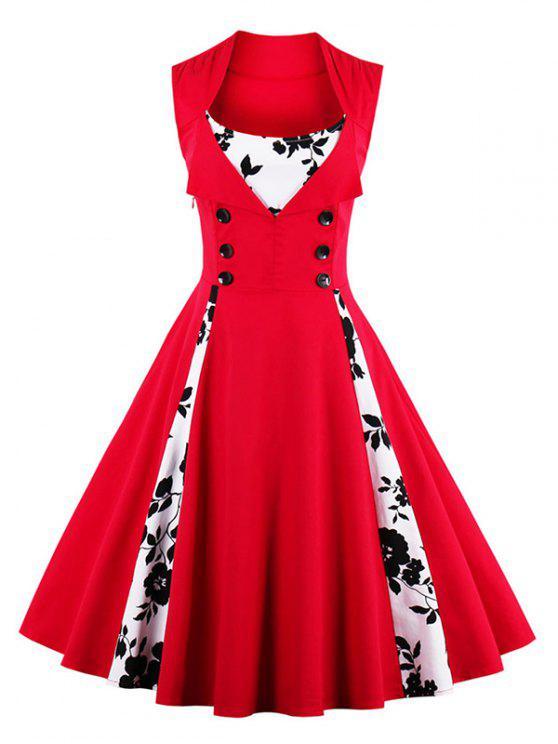 فستان طباعة ملائم وتوهج - أحمر S