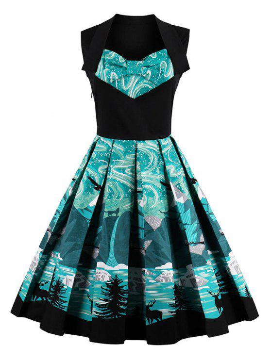 Vestido Campana Largo Rodilla Vintage Ajustado - Negro 2XL