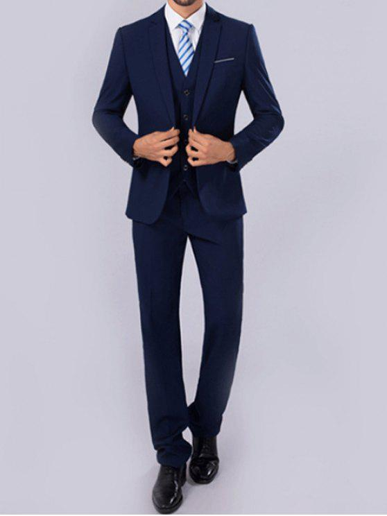 a2dad127322 35% OFF] 2019 Slim Fit One Button Lapel Blazer Suit In DEEP BLUE   ZAFUL