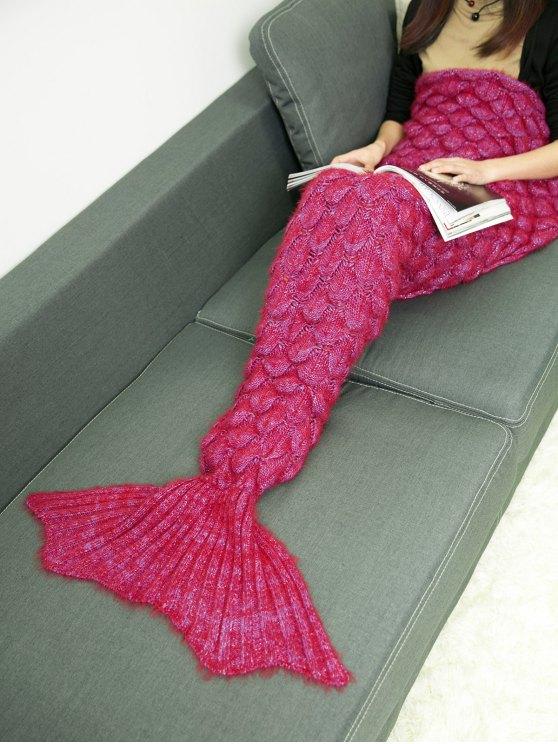 لينة محبوك رمي السرير التفاف حورية البحر بطانية - أحمر غامق