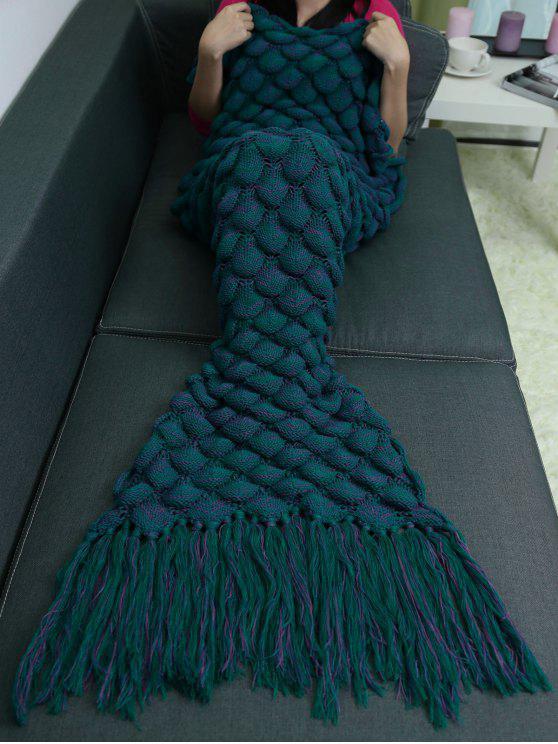 350bbf858a1f2c 53% OFF] 2019 Fish Scales Tassel Design Crochet Mermaid Tail Blanket ...
