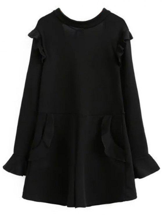 shops Frilled V Back Long Sleeve Romper - BLACK M