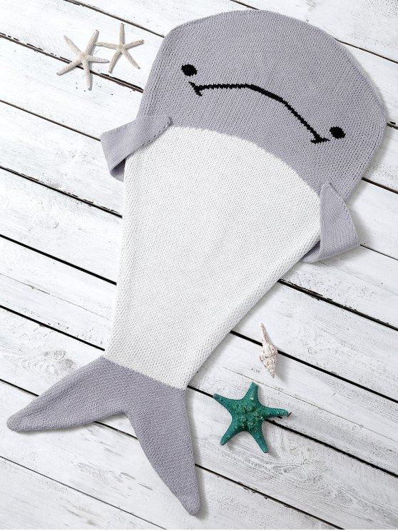 shop Knitted Dolphin Shape Blanket Throw For Baby - LIGHT GRAY