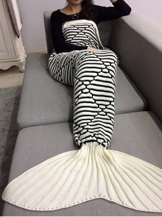 shops Bedroom Crochet Knit Mermaid Blanket Throw - MILK WHITE