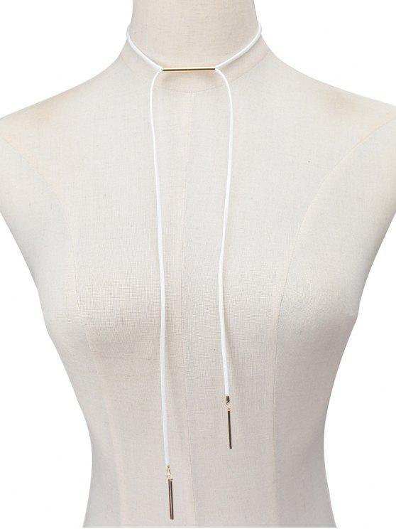 Gargantilla de imitación de cuero cuerda Bar - Blanco