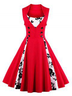 Fit And Flare Print Vintage Tea Length Dress - Red M