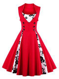 Fit Und Flare Druck Vintage-Kleid - Rot S